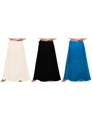 Plain Combo of Cotton Petticoats in Multicolor