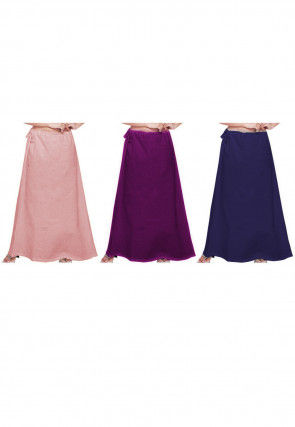 Plain Combo of Cotton Petticoats in Pink and Navy Blue