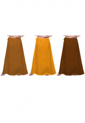Plain Combo of Cotton Petticoats in Yellow, Brown
