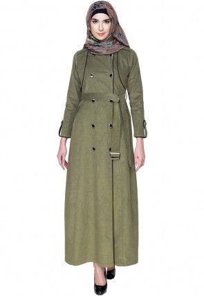 Plain Cordruoy Front Open Coat Style Abaya in Light Olive Green