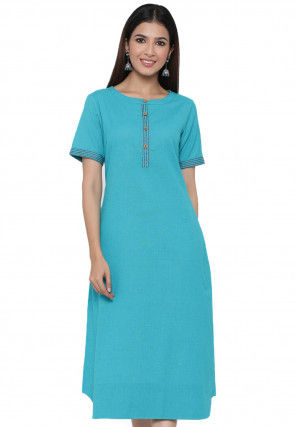 Plain Cotton A Line Kurta in Teal Blue
