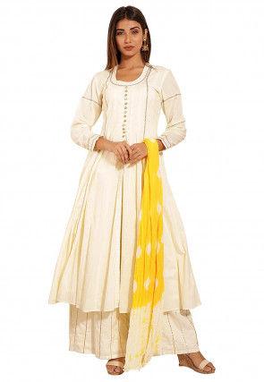 Plain Cotton A Line Suit in Off white