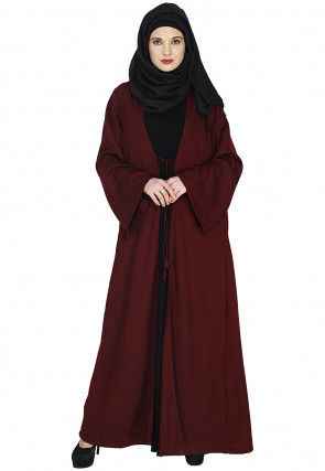 Plain Cotton Abaya in Maroon and Black