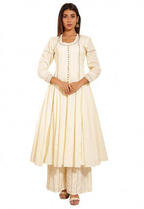 Plain Cotton Anarkali Kurta in Off white
