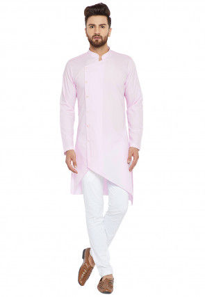 Plain Cotton Asymmetric Kurta Set in Baby Pink