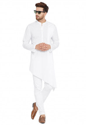 Plain Cotton Asymmetric Kurta Set in White