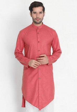 Plain Cotton Asymmetric Short Kurta in Pink