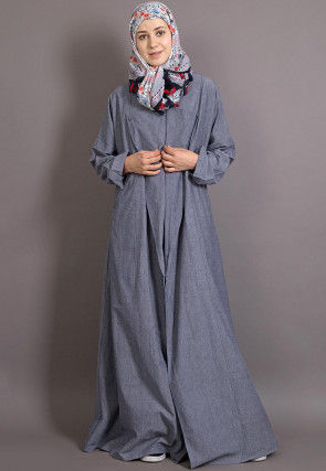 Plain Cotton Chambray Abaya in Sky Blue
