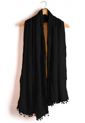 Plain Cotton Dupatta in Black