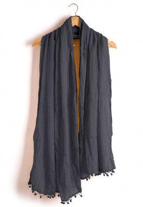 Plain Cotton Dupatta in Dark Grey