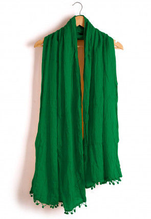 Plain Cotton Dupatta in Green