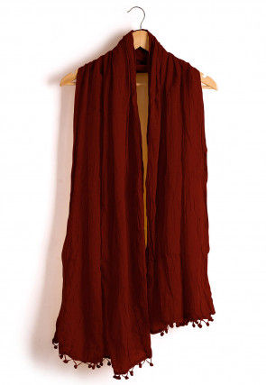 Plain Cotton Dupatta in Maroon