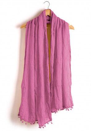 Plain Cotton Dupatta in Pink