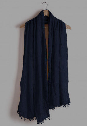 Plain Cotton Dupatta in Royal Blue