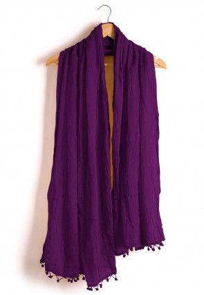 Plain Cotton Dupatta in Violet