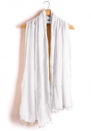 Plain Cotton Dupatta in White