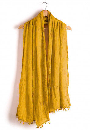 Plain Cotton Dupatta in Yellow