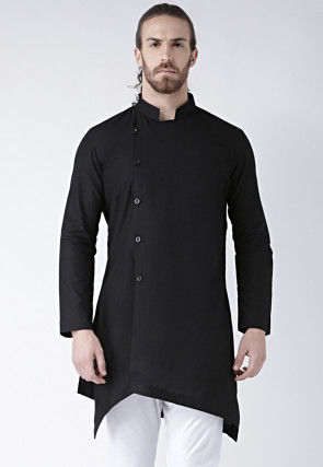 Plain Cotton Kurta in Black