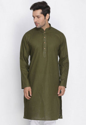 Plain Cotton Kurta in Dark Olive Green