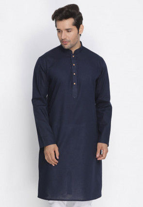 Plain Cotton Kurta in Navy Blue