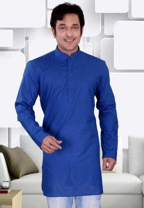 Plain Cotton Kurta in Royal Blue