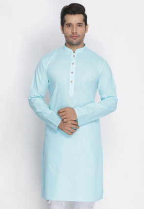 Plain Cotton Kurta in Sky Blue