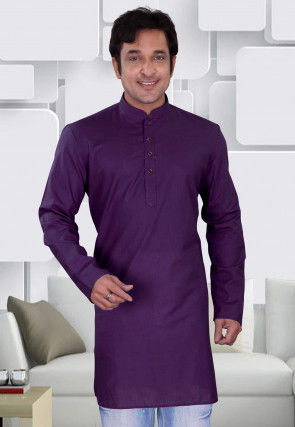 Plain Cotton Kurta in Violet