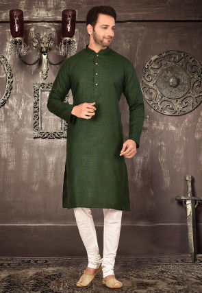 Plain Cotton Kurta Set in Dark Green