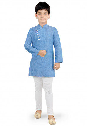 Plain Cotton Kurta Set in Light Blue