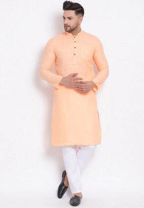 Plain Cotton Kurta Set in Light Peach