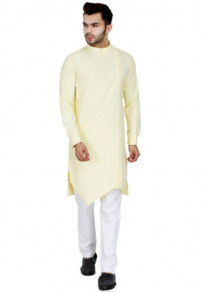 Plain Cotton Kurta Set in Light Yellow