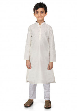 Plain Cotton Kurta Set in Off White