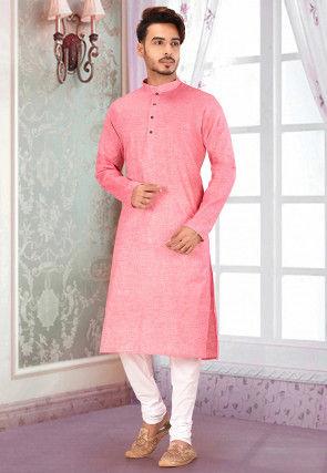 Plain Cotton Kurta Set in Pink