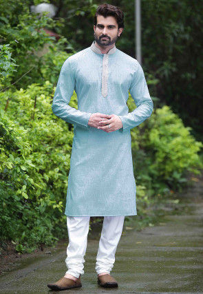 Plain Cotton Kurta Set in Sky Blue