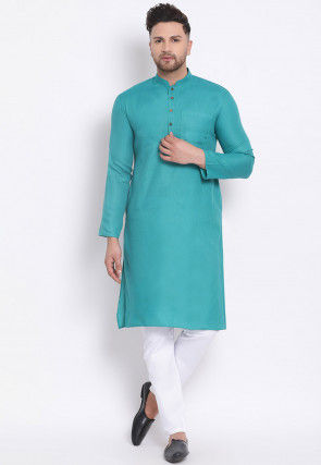 Plain Cotton Kurta Set in Turquoise
