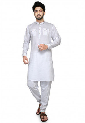 Plain Cotton Kurta Set in White