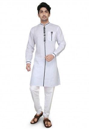 Plain Cotton Kurta Set in White