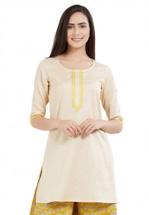 Plain Cotton Kurti in Light Beige