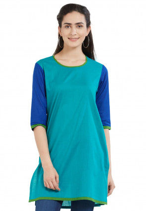 Plain Cotton Kurti in Teal Blue