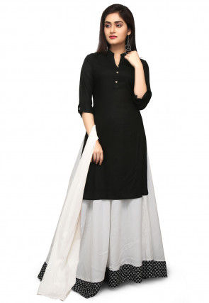 Plain Cotton Linen Lehenga in Black