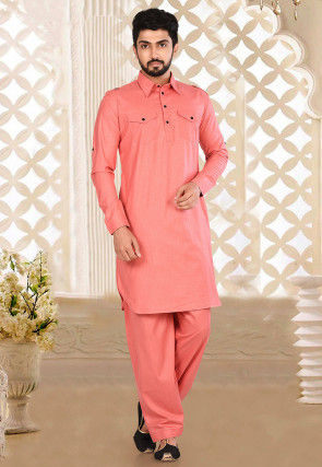 Plain Cotton Linen Paithani Suit in Coral Pink