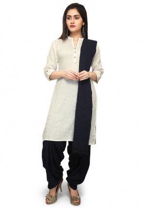 Plain Cotton Linen Punjabi Suit in Off White
