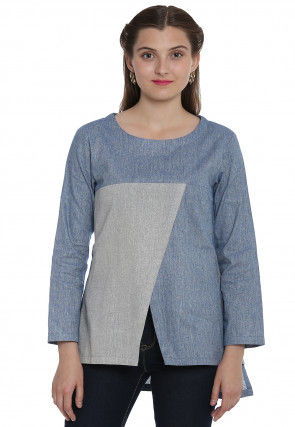 Plain Cotton Linen Top in Light Blue and Grey