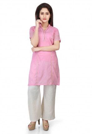 Plain Cotton Mulmul Kurti Set in Light Pink