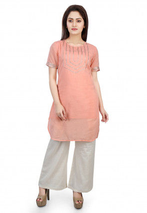 Plain Cotton Mulmul Kurti Set in Peach