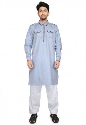 Plain Cotton Paithani Suit in Light Blue
