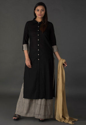 Plain Cotton Pakistani Suit in Black