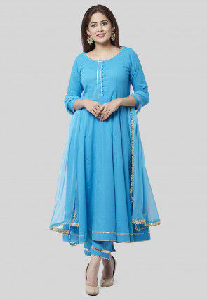 Plain Cotton Pakistani Suit in Blue