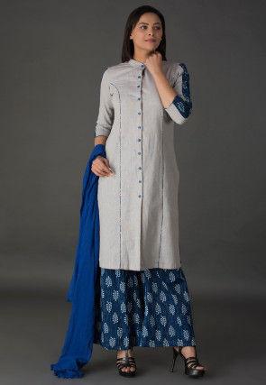Plain Cotton Pakistani Suit in Light Grey