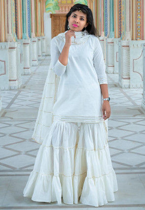 Plain Cotton Pakistani Suit in White
